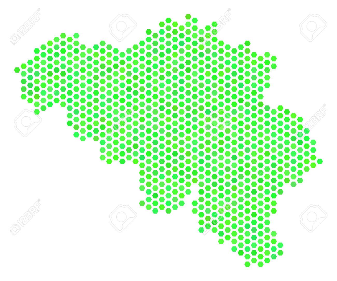 eco green belgium map vector hexagonal territorial plan using green color shades abstract belgium