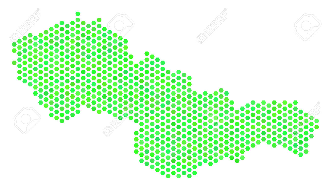Green Czechoslovakia map  Vector hex-tile geographic map drawn
