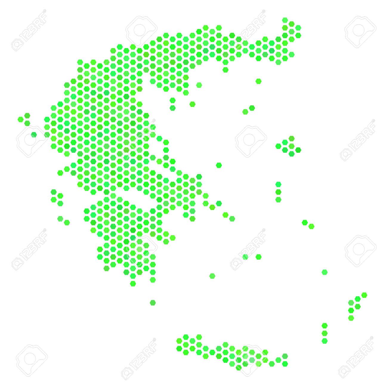 Fresh Green Greece Map. Vector Hex Tile Territorial Map Using ...