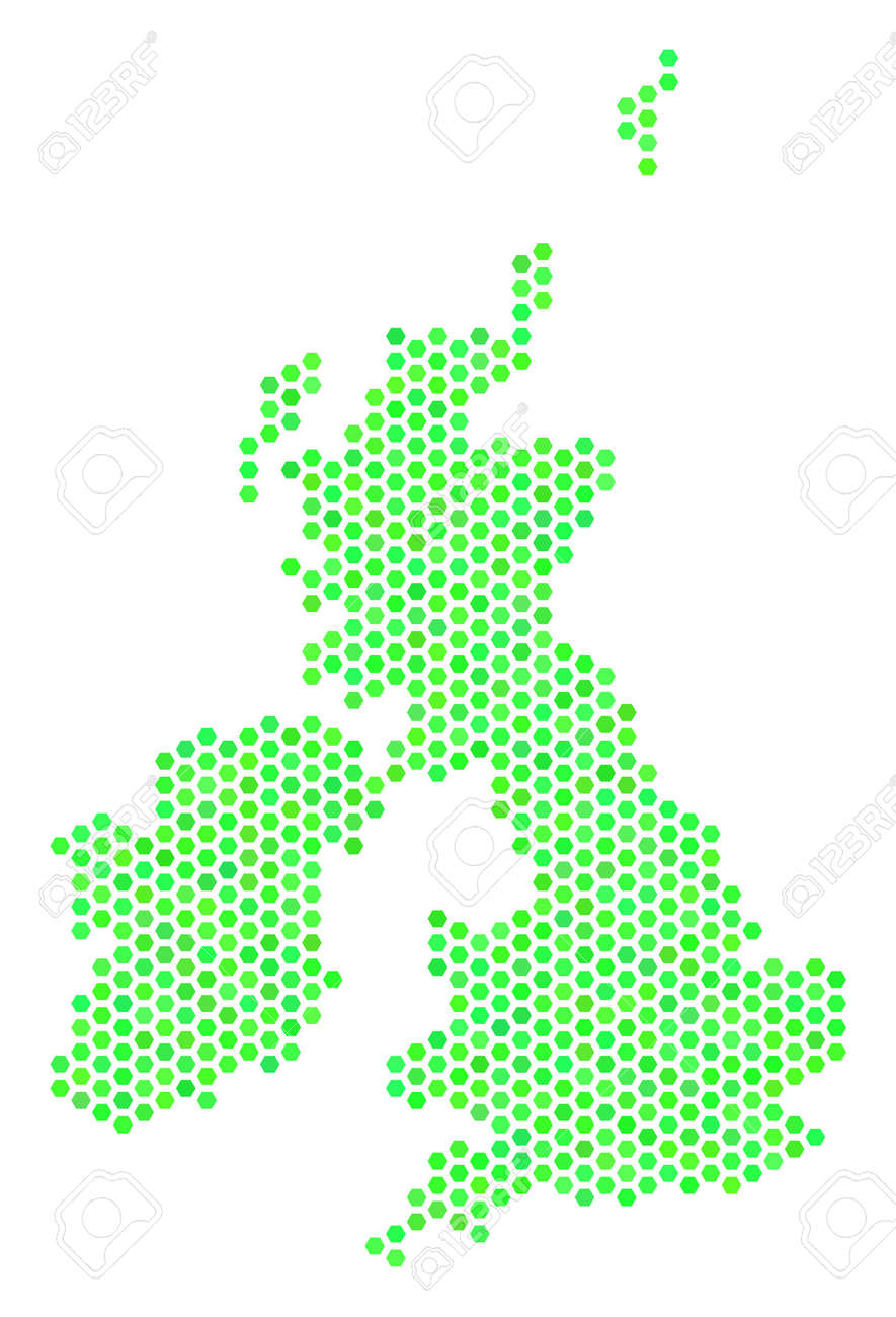 Britain And Ireland Map.Green Great Britain And Ireland Map Vector Hex Tile Territory