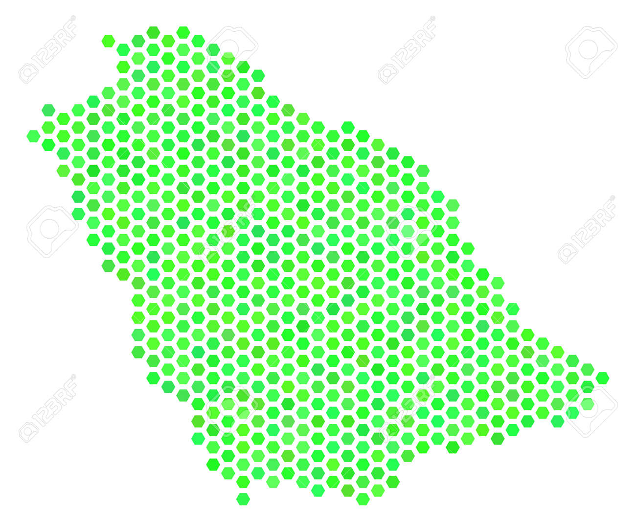 Eco Green Saudi Arabia Map Vector Hex Tile Geographic Map Using