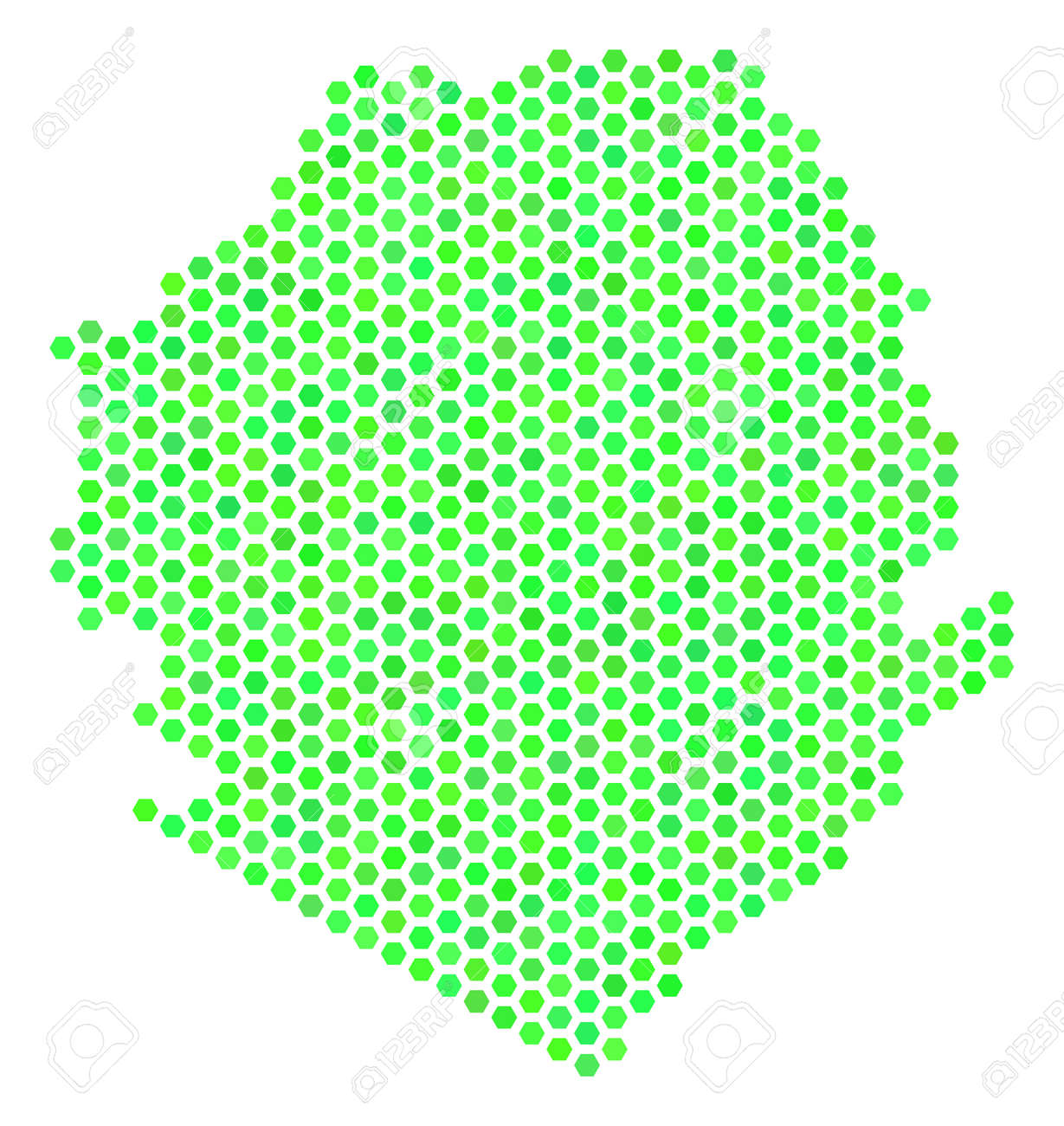 Eco Green Sierra Leone Map Vector Hex Tile Geographic Map Drawn