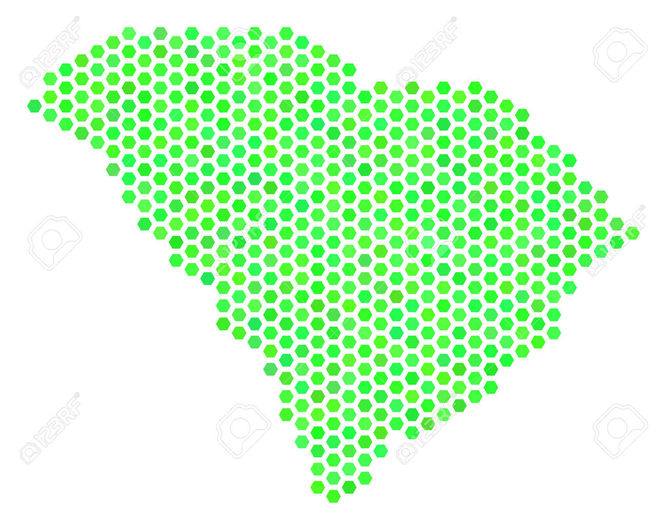 Fresh Green South Carolina State Map. Vector Honeycomb Geographic ...