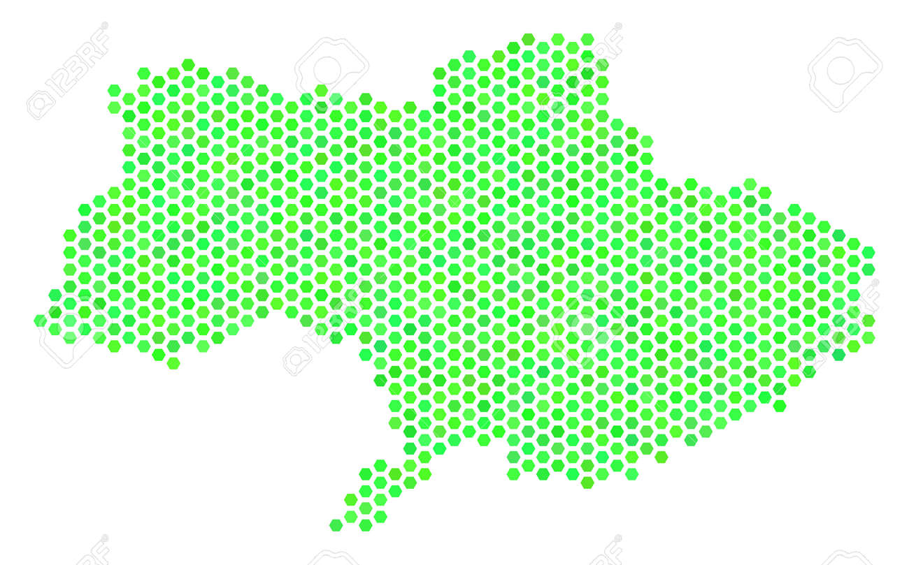 Green Ukraine Map Vector Hex Tile Territorial Map Drawn With