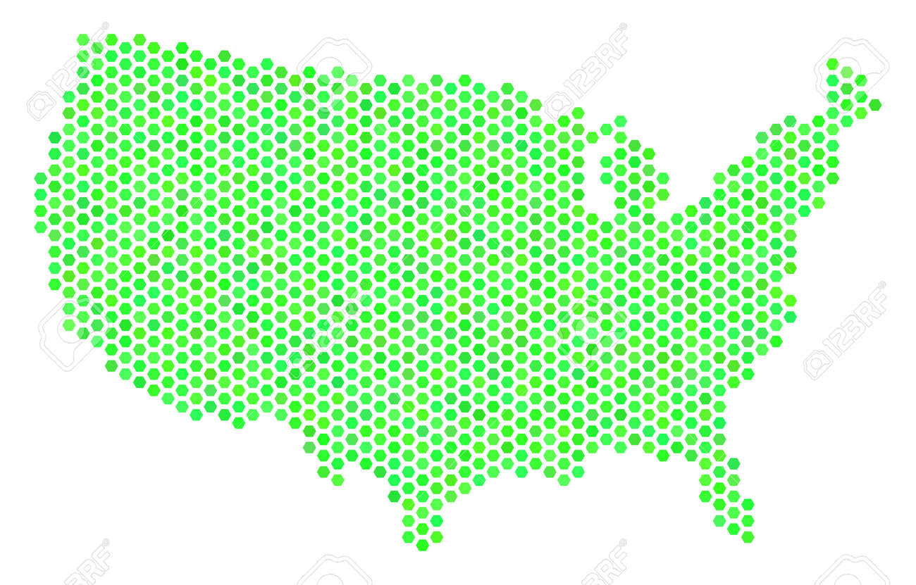 Eco Green USA Map. Vector Hex Tile Territorial Map Drawn With ...