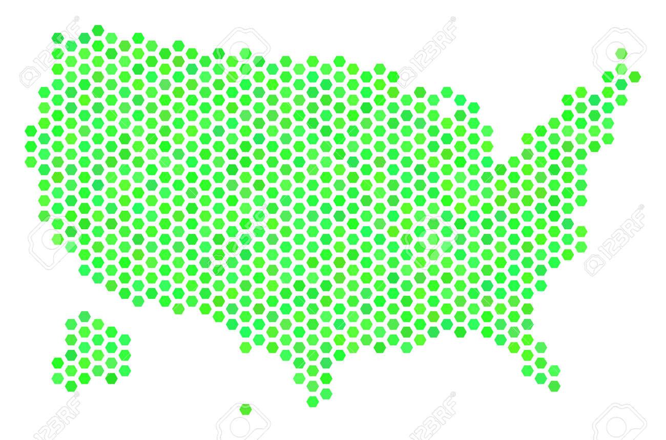 Eco Green USA With Alaska Map. Vector Hex-tile Geographic Plan ...