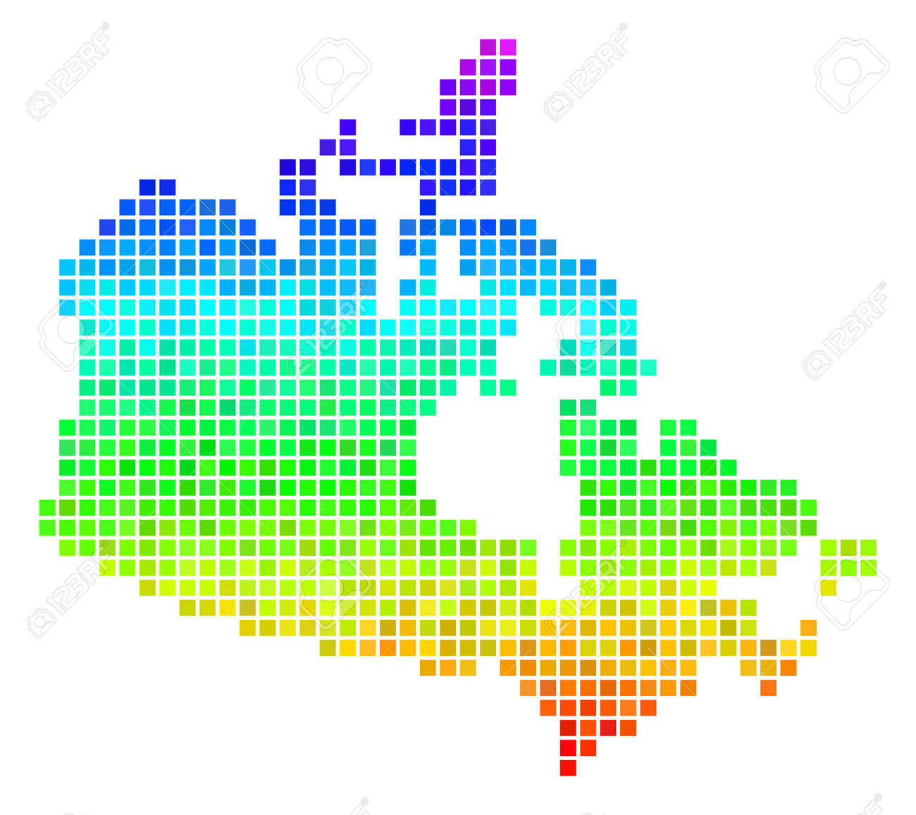 Colored Map Of Canada.Dot Canada Map Vector Geographic Plan Using Bright Rainbow Color
