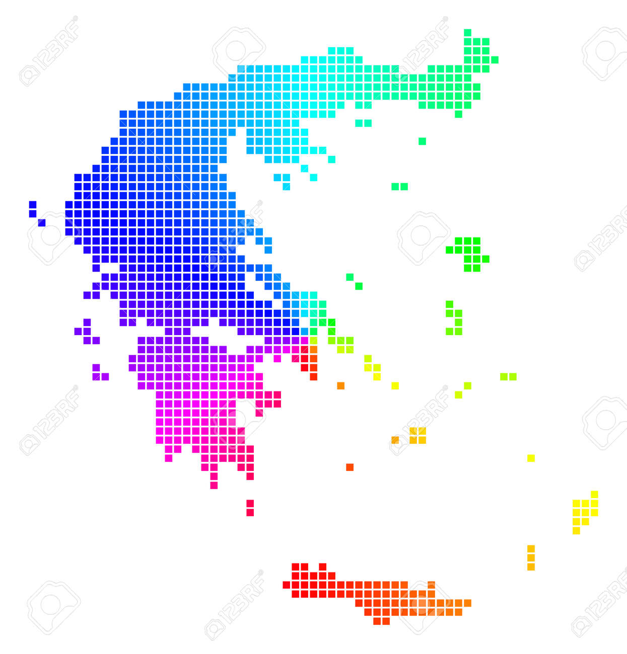 Spectrum Greece Map. Vector Dot Geographic Map In Bright Rainbow ...