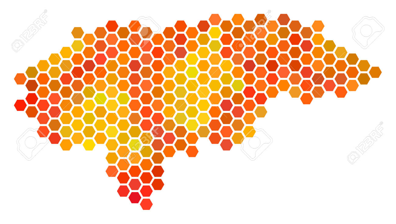 honduras map raster hex tile territorial scheme in bright orange