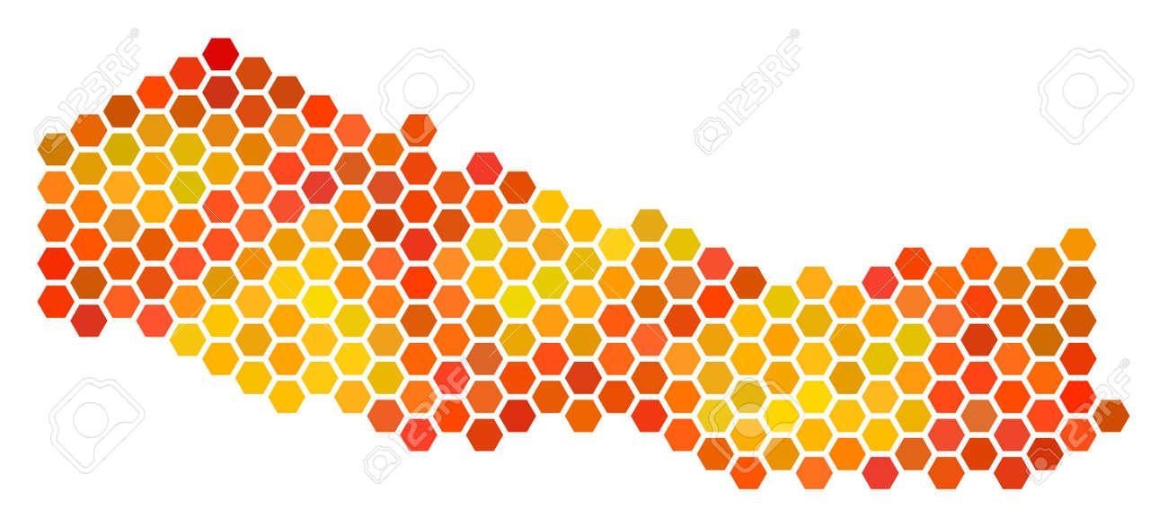 nepal map raster hexagon territory scheme in bright orange color