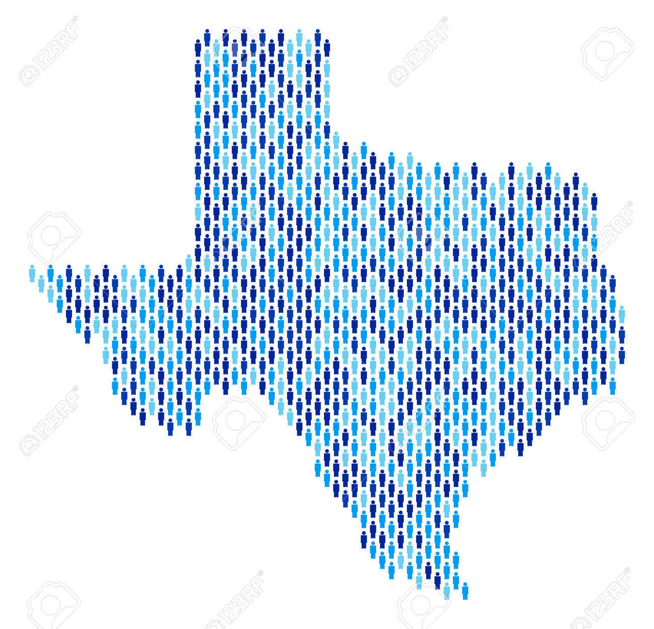 Population Map Of Texas.Population Texas Map Demography Vector Collage Of Texas Map