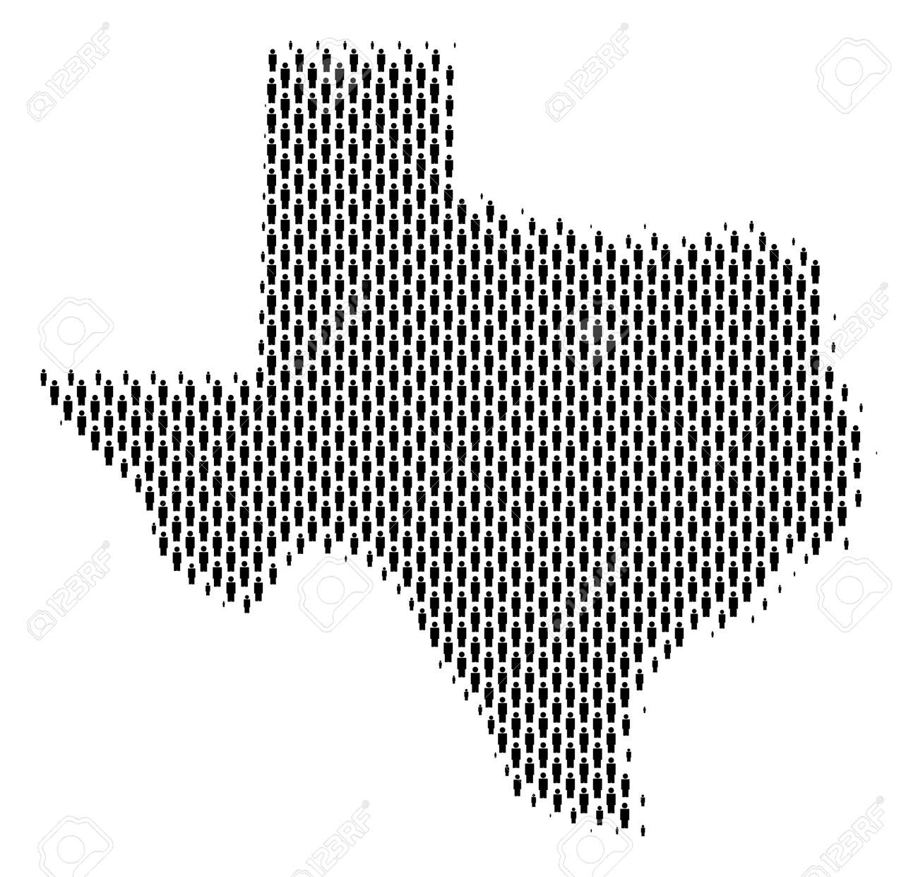 Population Map Of Texas.Demography Texas Map People Population Vector Cartography Mosaic
