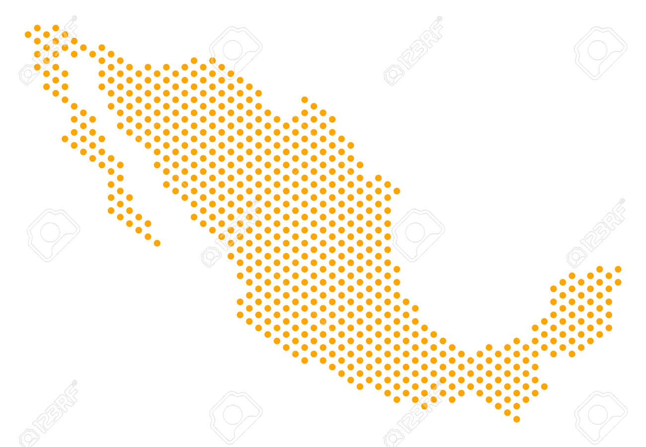 Dotted Mexico Map. Vector Geographic Scheme. Cartographic ...