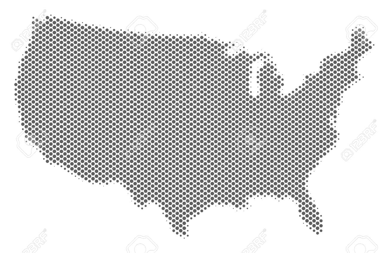 Schematic USA Map. Vector Halftone Geographic Abstraction. Grey ...