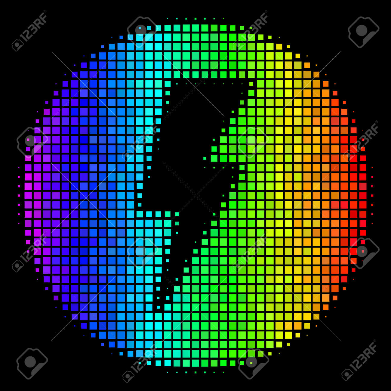 Dot Bright Halftone Electricity Icon Drawn With Rainbow Color ...