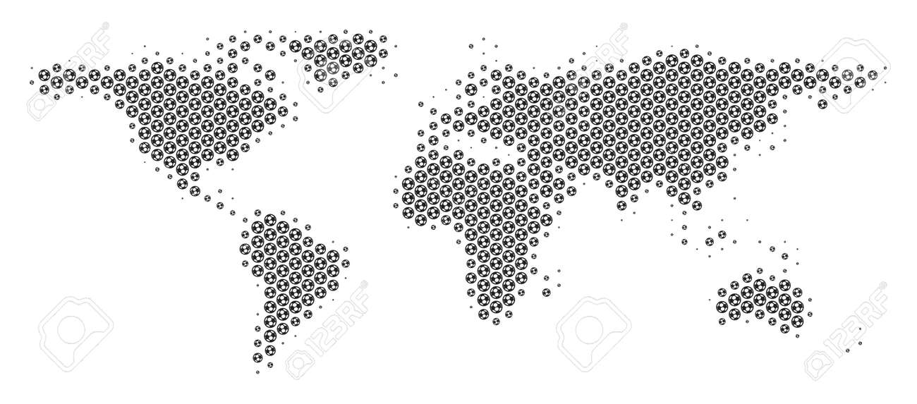 Football ball world map vector territory scheme in grey color football ball world map vector territory scheme in grey color abstract world map mosaic gumiabroncs Images