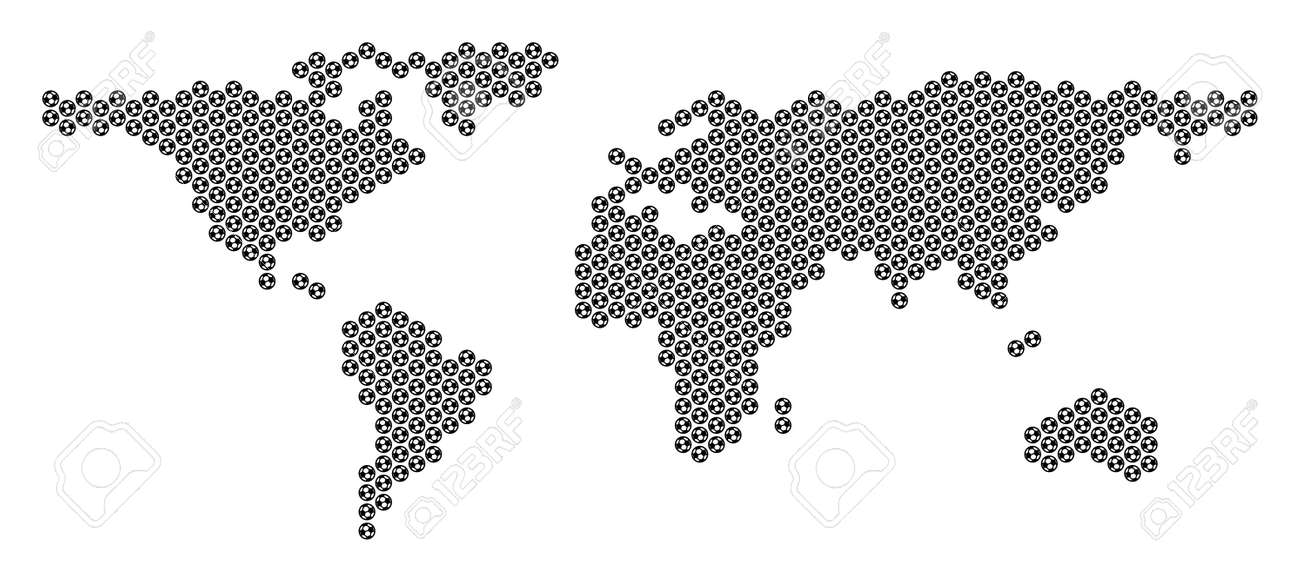 Football ball world map  Vector geographic plan on a white background