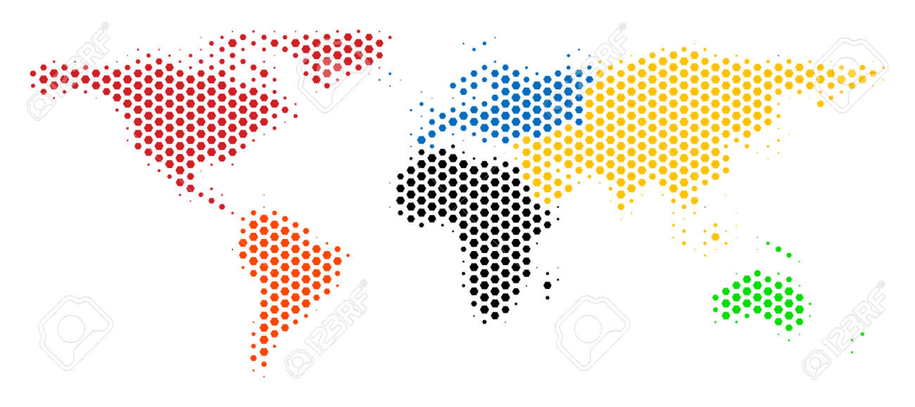 Hexagonal world map vector halftone geographic plan on a white hexagonal world map vector halftone geographic plan on a white background abstract world map gumiabroncs Image collections