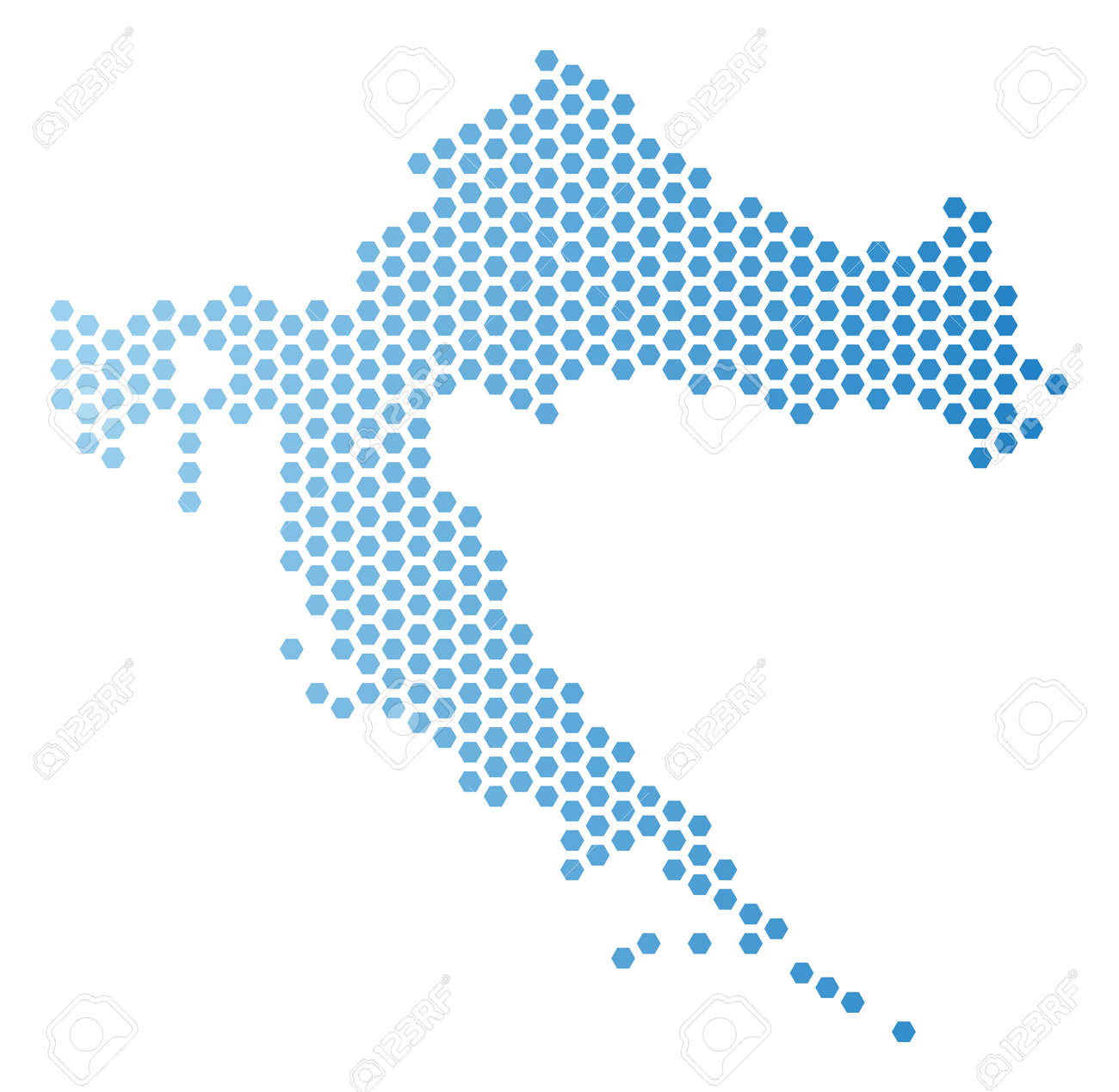 Hexagonal Croatia Map. Vector Territory Plan In Light Blue Color ...