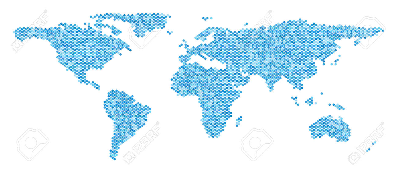 Blue Pixelated World Map. Vector Geographic Map In Blue Color