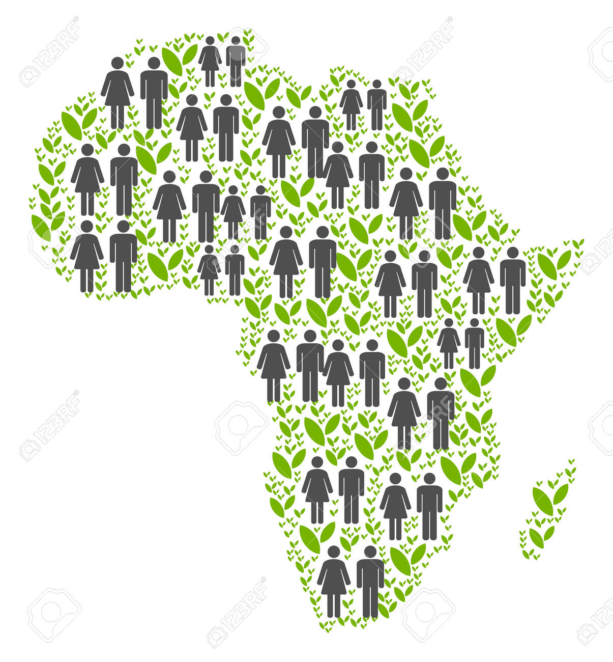 People Population And Ecology Africa Map. Vector Mosaic Of Africa