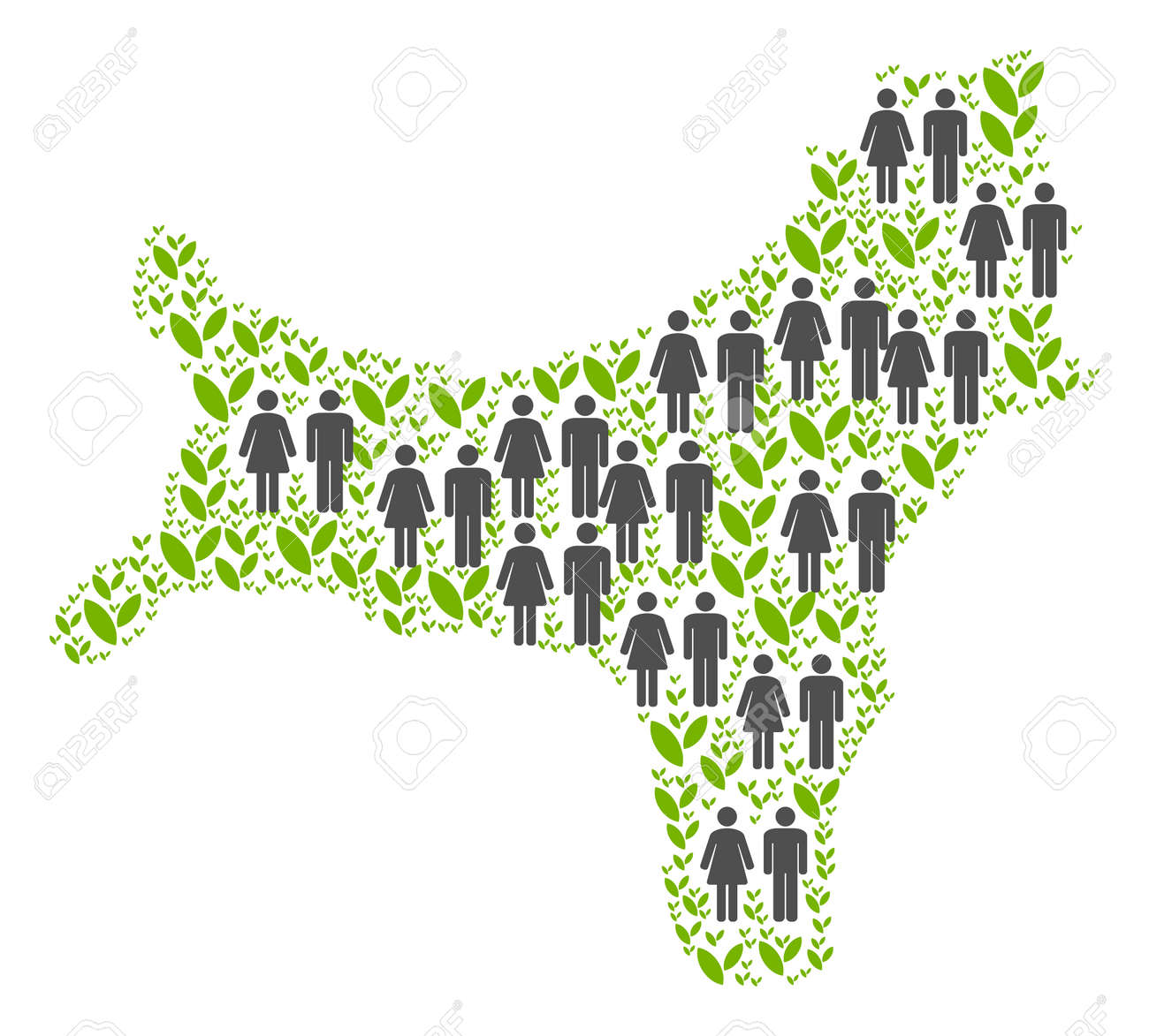 People Population And Green Plants Christmas Island Map Vector