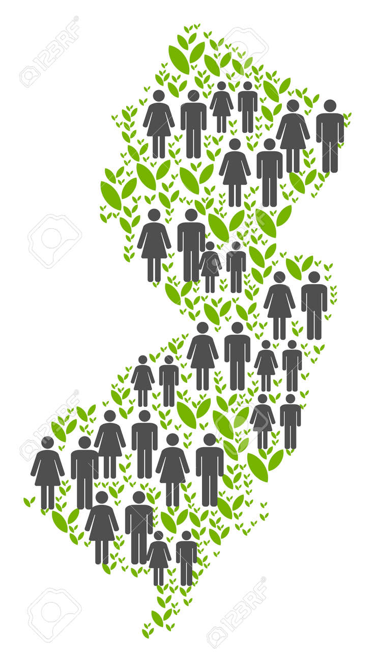 People Population And Green Plants New Jersey State Map Vector