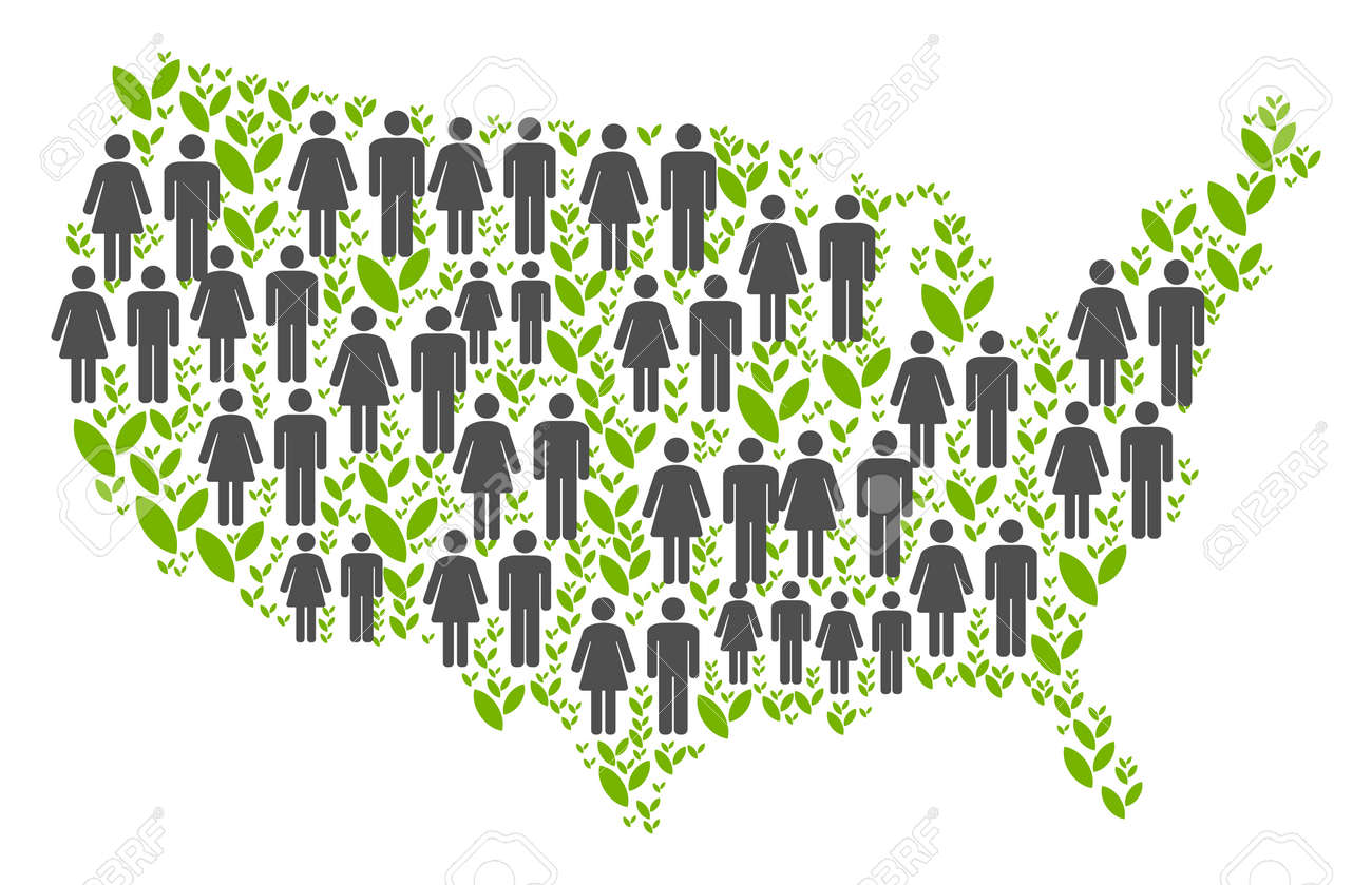 Captivating People Population And Grass USA Map. Vector Collage Of USA Map Composed Of  Scattered People