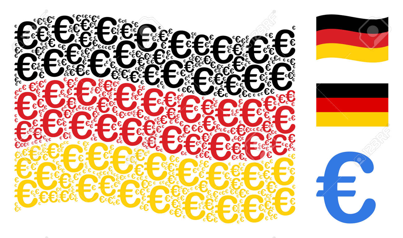 Waving German State Flag Vector Euro Symbol Icons Are Organized
