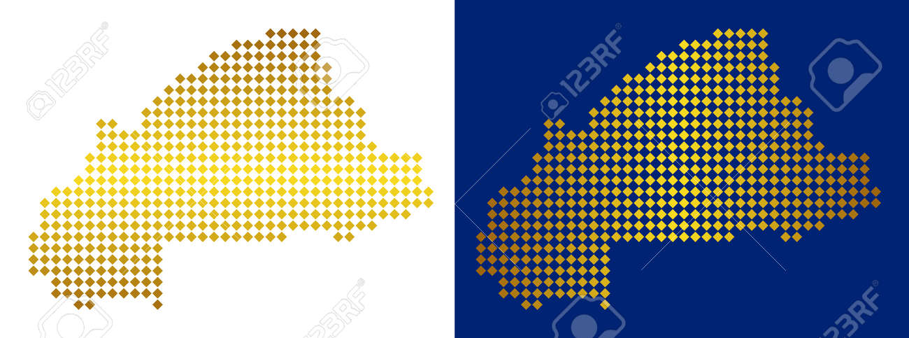 Gold Dotted Burkina Faso Map. Vector Territory Maps In Golden Colors ...