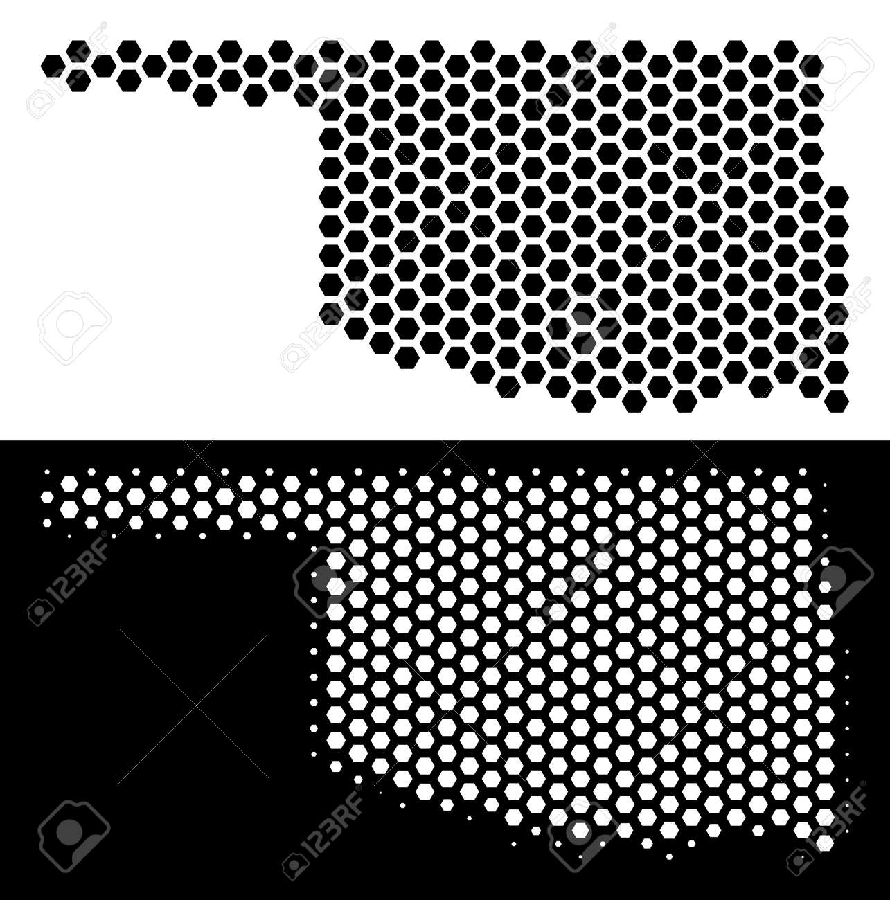 Hex Tile Oklahoma State map  Vector geographic plan in black