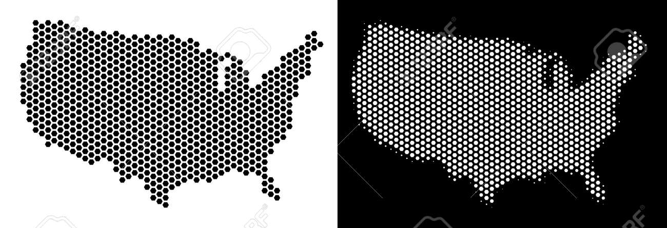 Hex Tile USA Map. Vector Geographic Plan In Black And White Versions ...