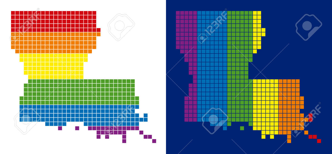 Geographic Map Of Louisiana.Dotted Lgbt Louisiana State Map Variants Vector Geographic Plans