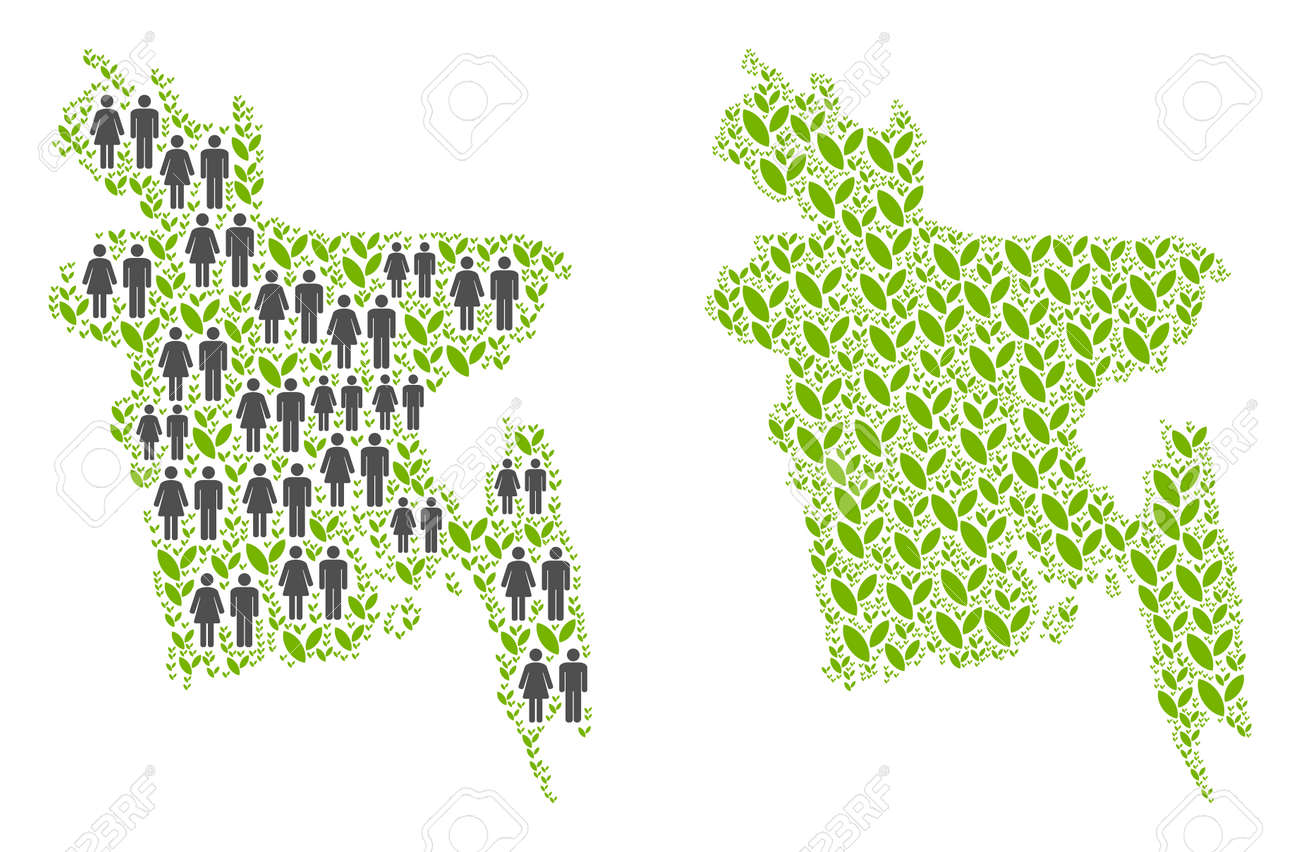 People population and eco Bangladesh map  Vector mosaic of Bangladesh