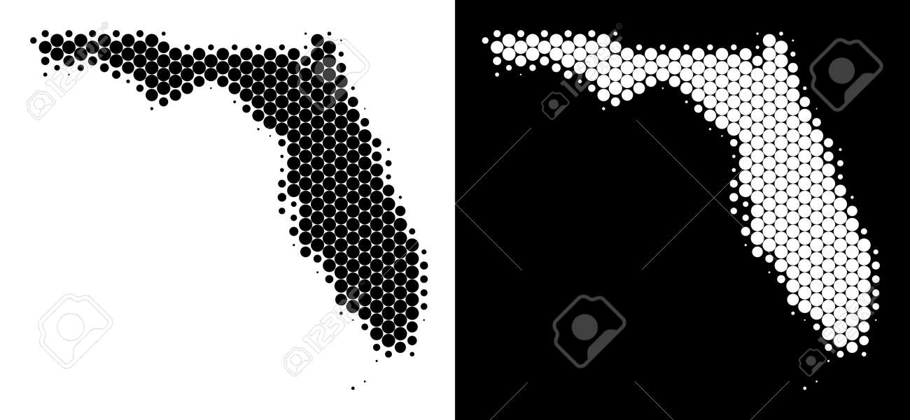 Dot Halftone Florida Map Vector Geographic Map On White And