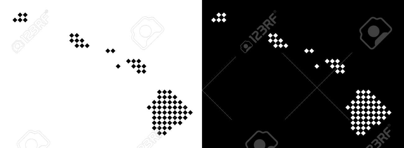 Vector Rhombic Pixel Hawaii Islands Map Abstract Geographic