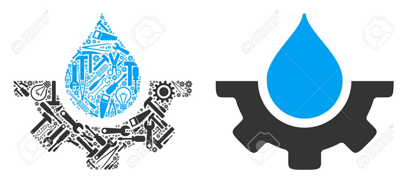 Water drop service cog mosaic of workshop instruments. Vector water drop service cog icon is made from gearwheels, spanners and other service items. Concept of mechanic workshop. - 103274850