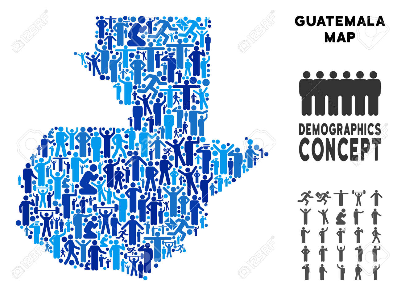 Vector Potion Guatemala Map. Demography Concept Of Guatemala ... on