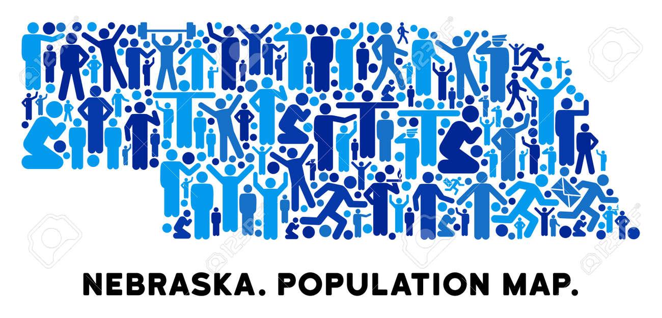 Vector Population Nebraska State Map Demography Mosaic Of Nebraska