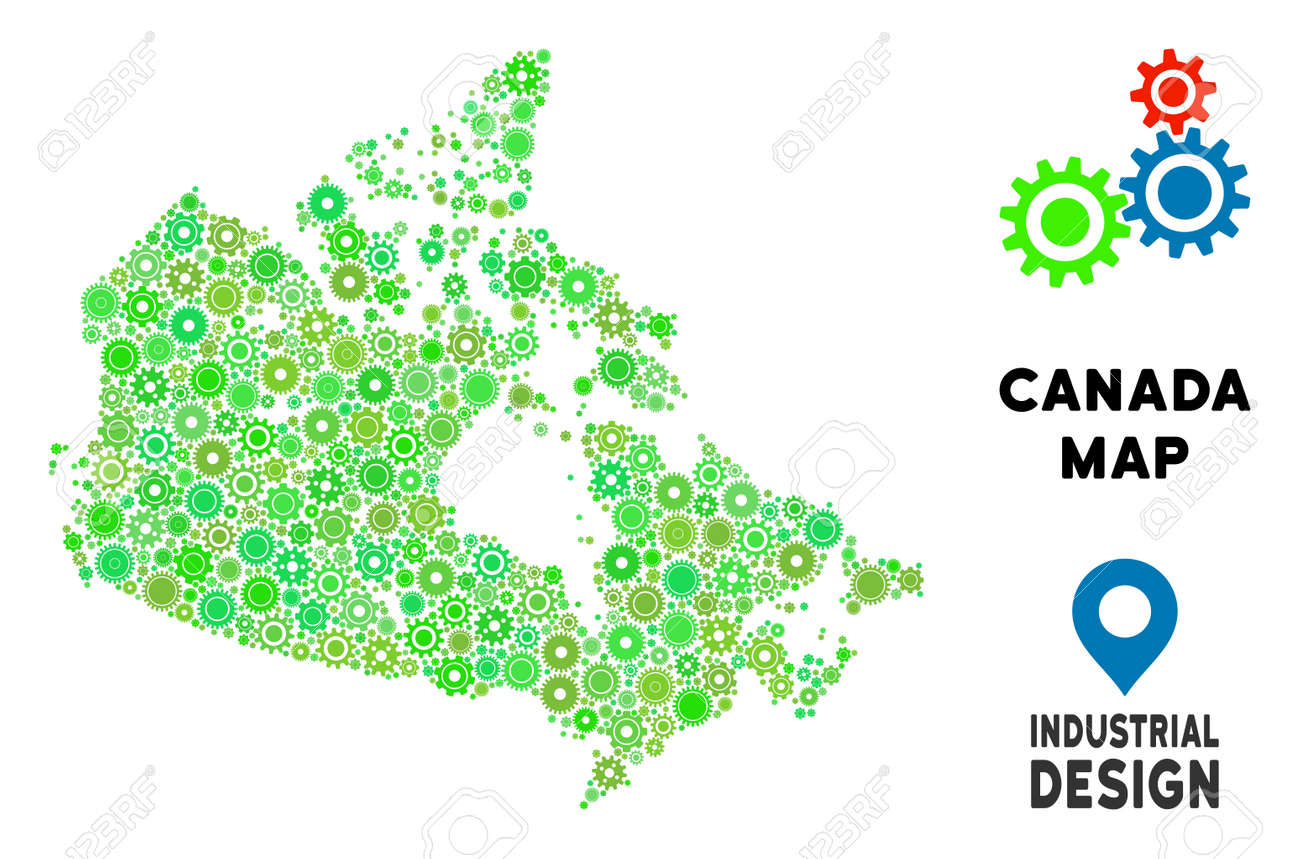 Small Map Of Canada.Gear Canada Map Mosaic Of Small Gearwheels Abstract Geographic