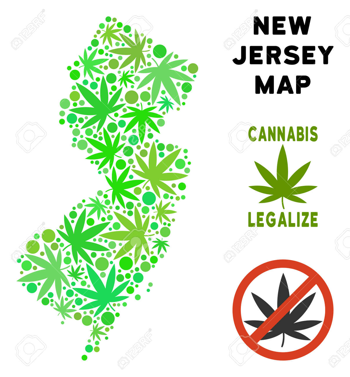 Royalty Free Cannabis New Jersey State Map Composition Of Weed ...