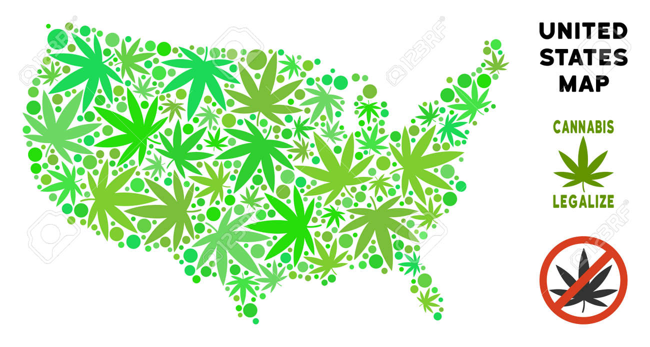 Royalty Free Marijuana USA Map Mosaic Of Weed Leaves. Concept ...
