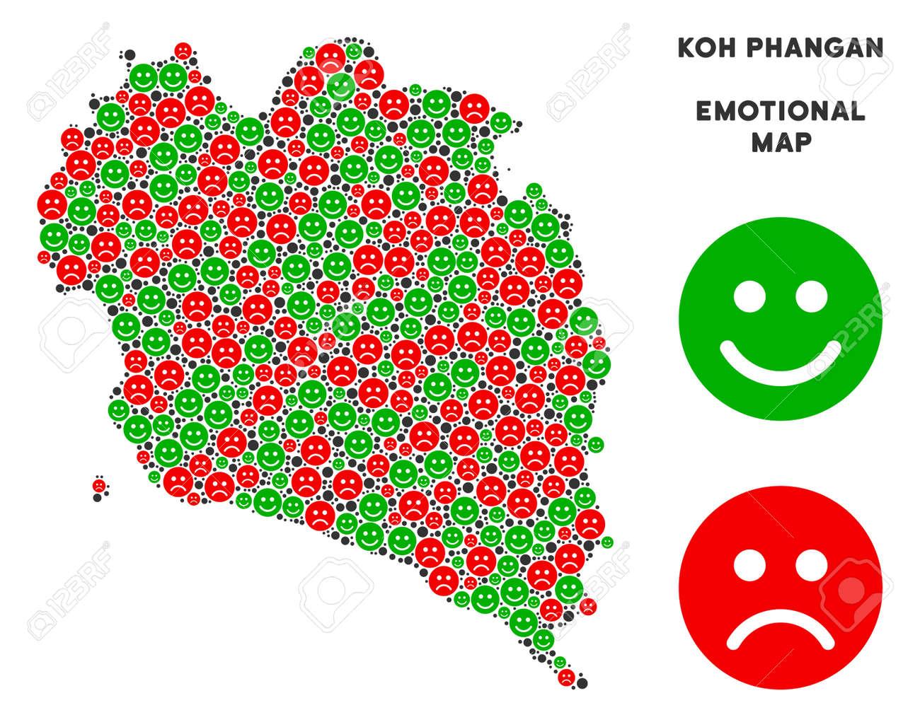 Koh Phangan Thailand Map.Happiness And Sorrow Koh Phangan Thai Island Map Composition