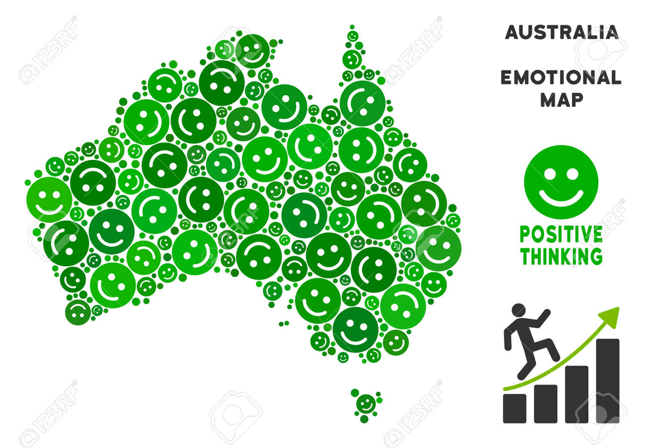 Happiness Australia Map Composition Of Smileys In Green Shades Royalty Free Cliparts Vectors And Stock Illustration Image 103756578