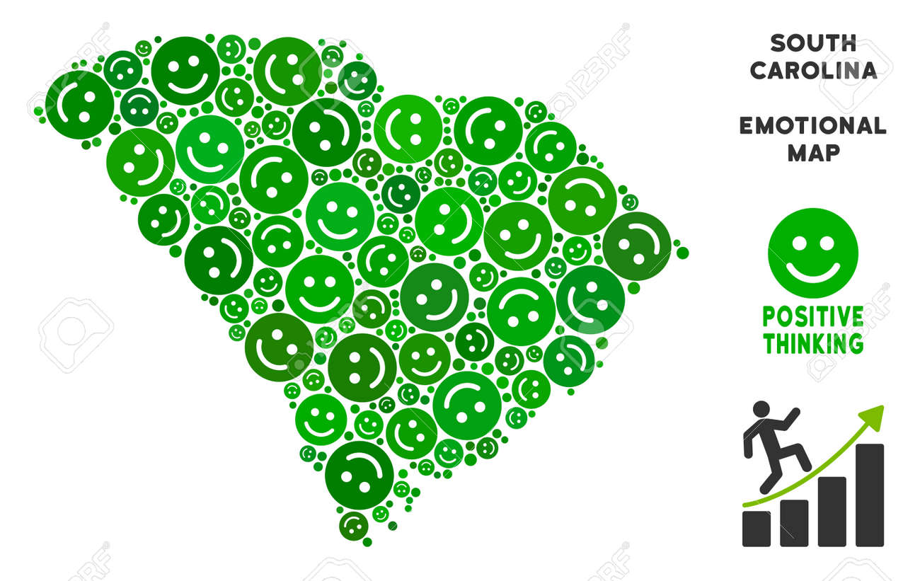 Happy South Carolina State Map Composition Of Smileys In Green ...
