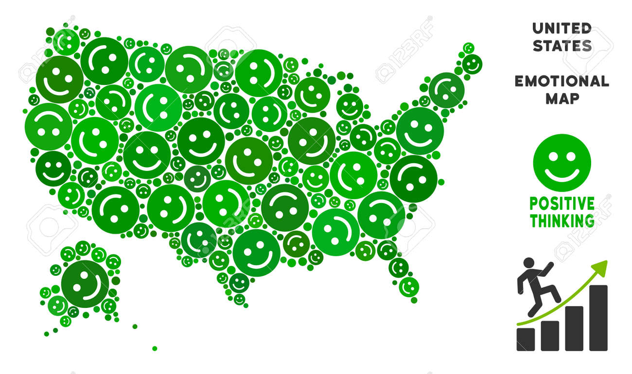 Happiness USA with Alaska map mosaic of smile emojis in green..