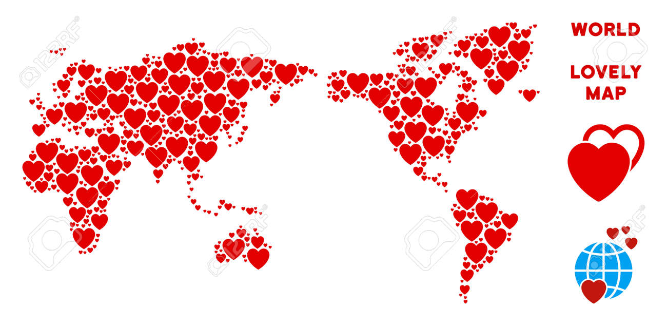 Romantic World Map Collage Of Red Hearts We Like World Map Template