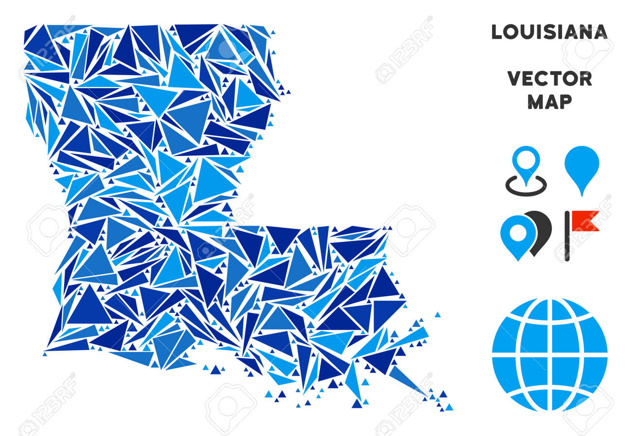 Geographic Map Of Louisiana.Louisiana State Map Collage Of Blue Triangle Items In Various