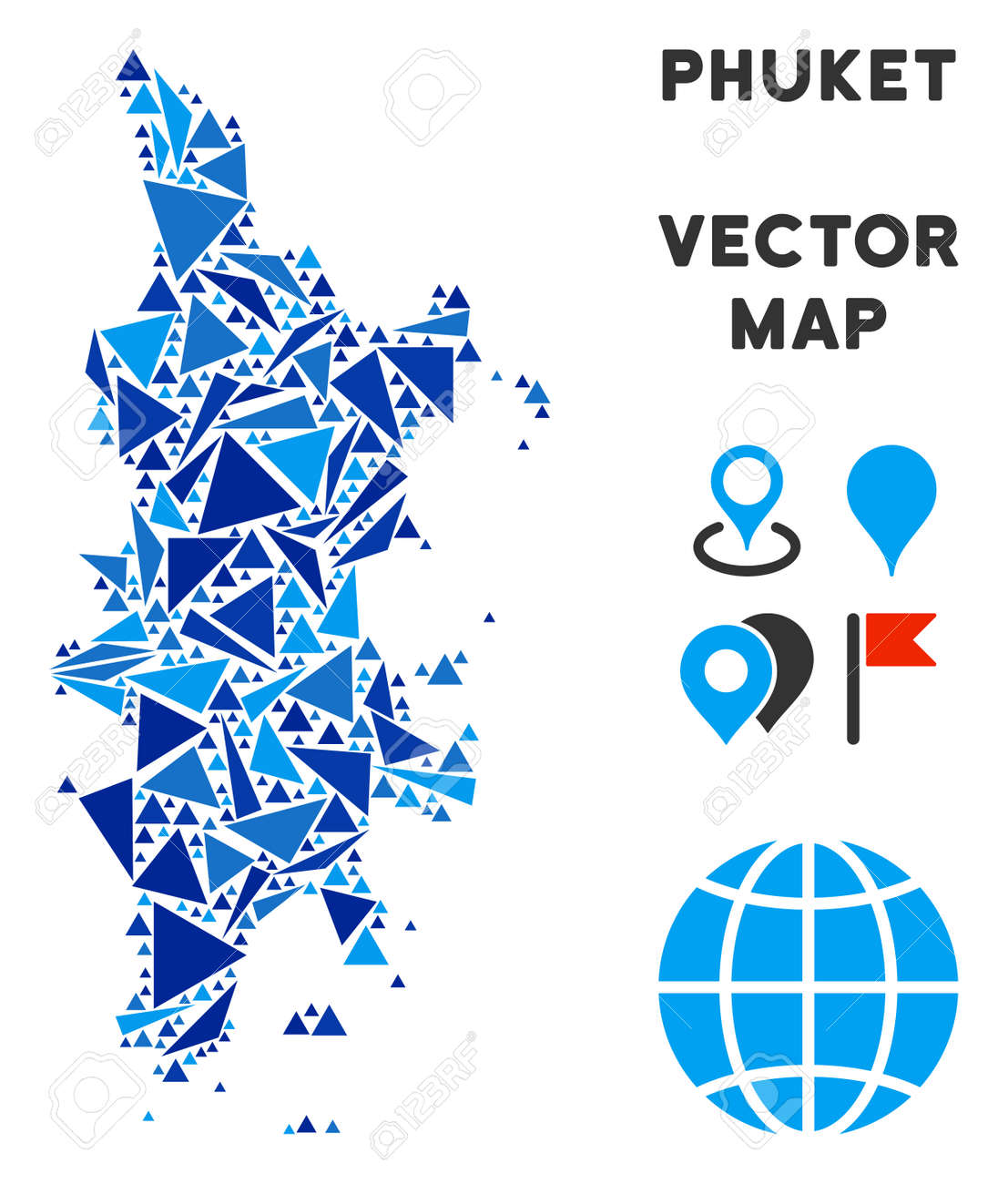 phuket map collage of blue triangle items in various sizes and