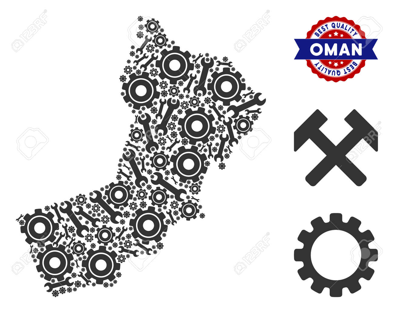 Repair service Oman map mosaic of service tools  Abstract territorial